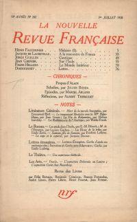 La Nouvelle Revue Française N' 202 (Juillet 1930)