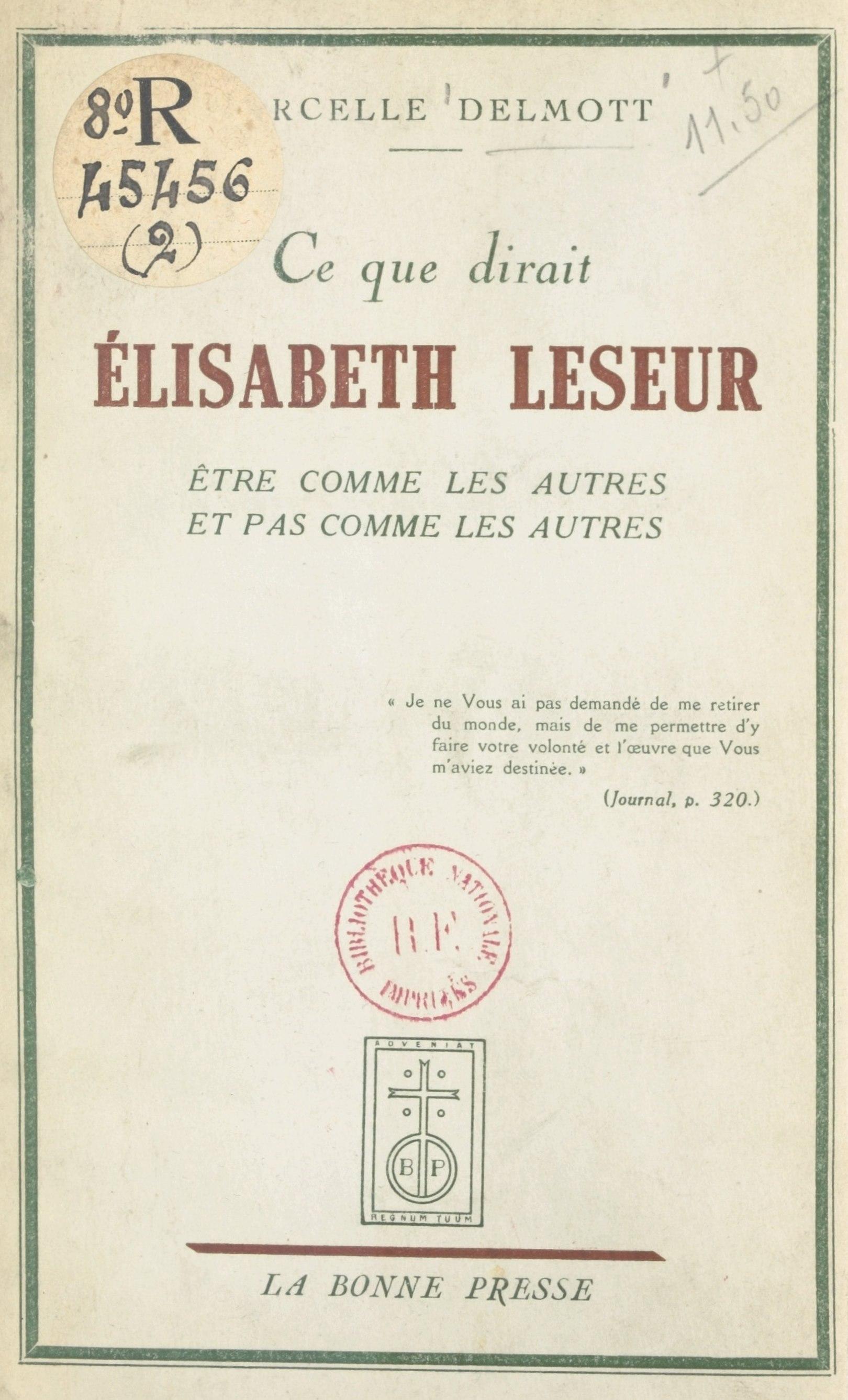 Ce que dirait Élisabeth Leseur