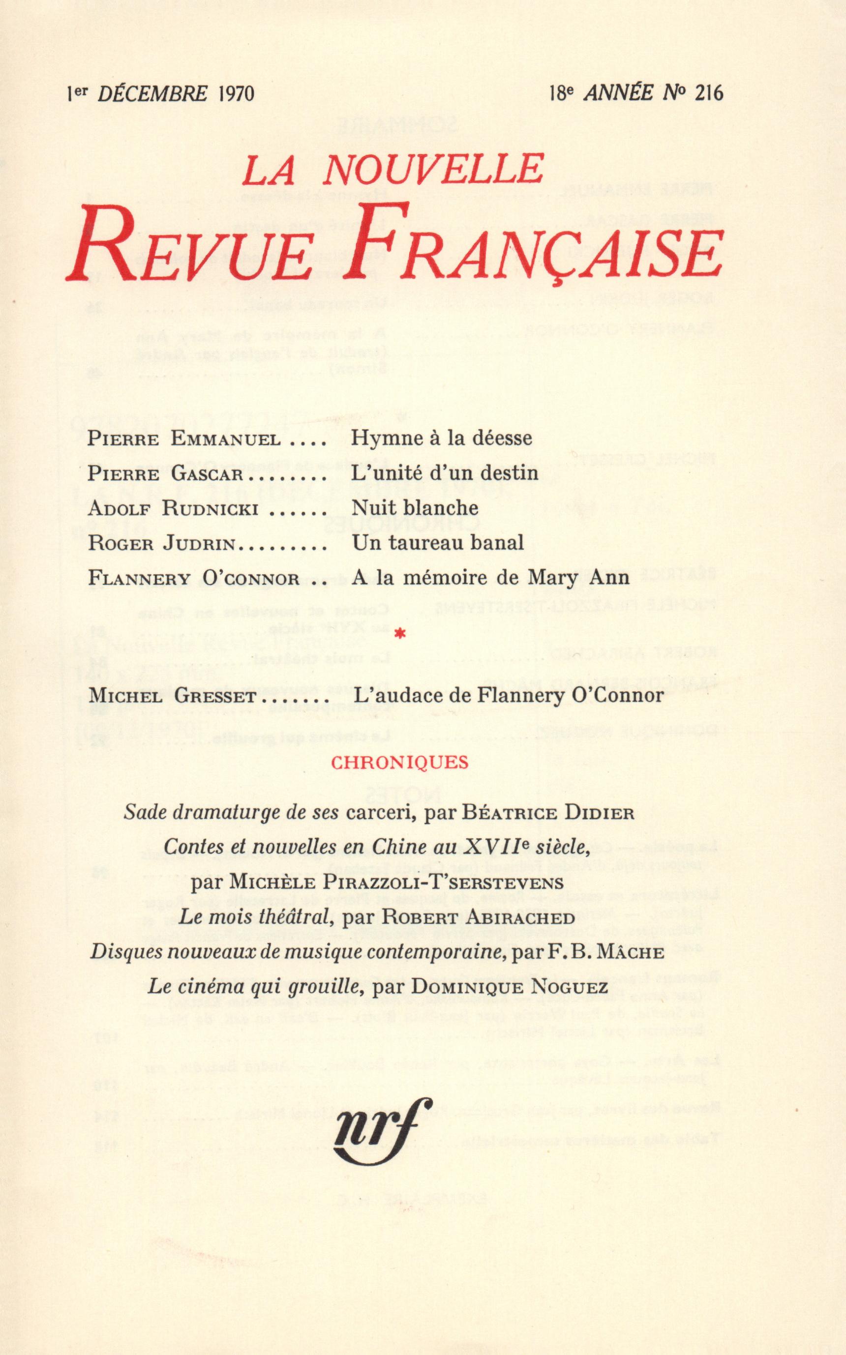 La Nouvelle Revue Française N° 216