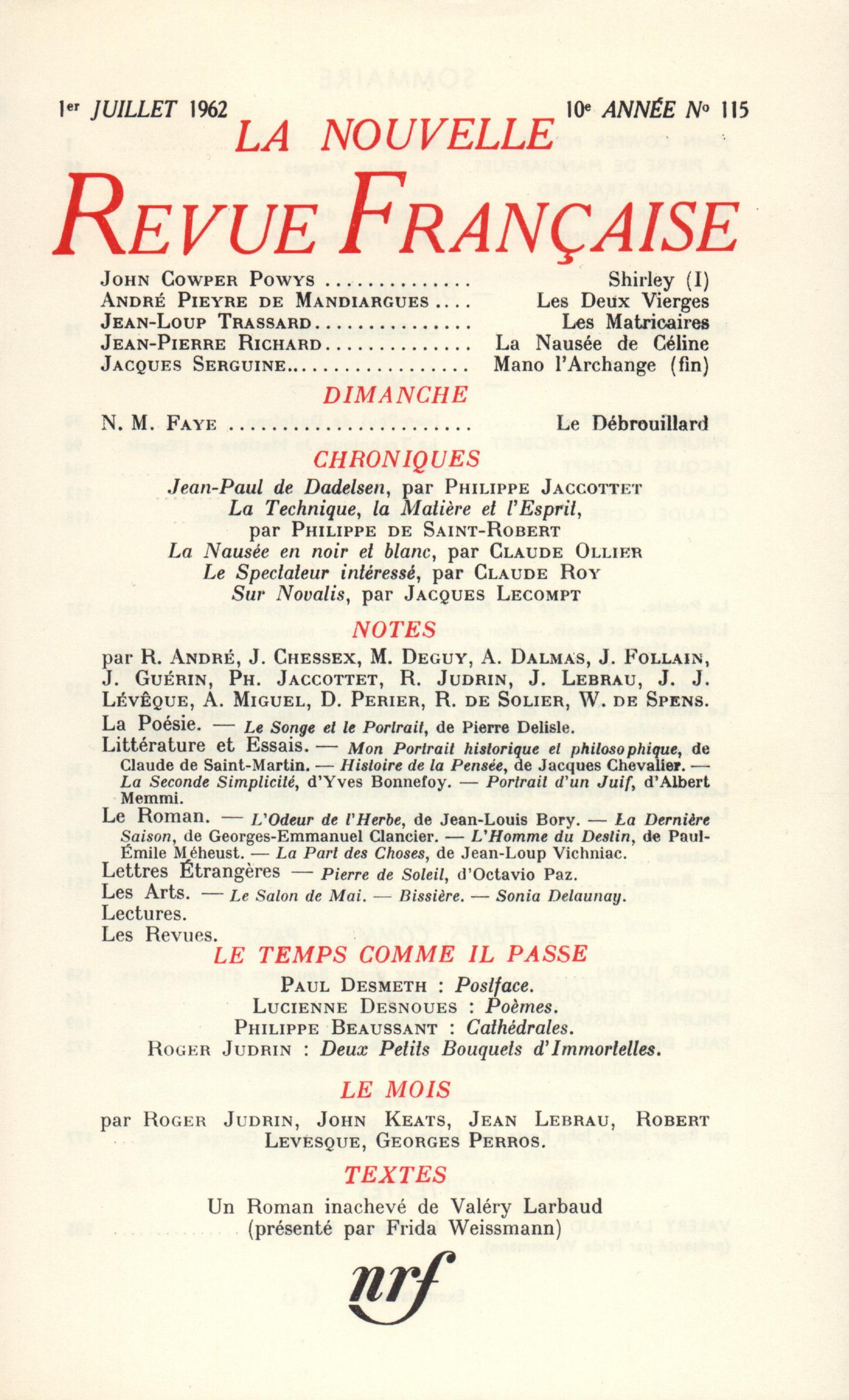 La Nouvelle Revue Française N' 115 (Juillet 1962)