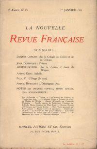 La Nouvelle Revue Française N' 25 (Janvier 1911)
