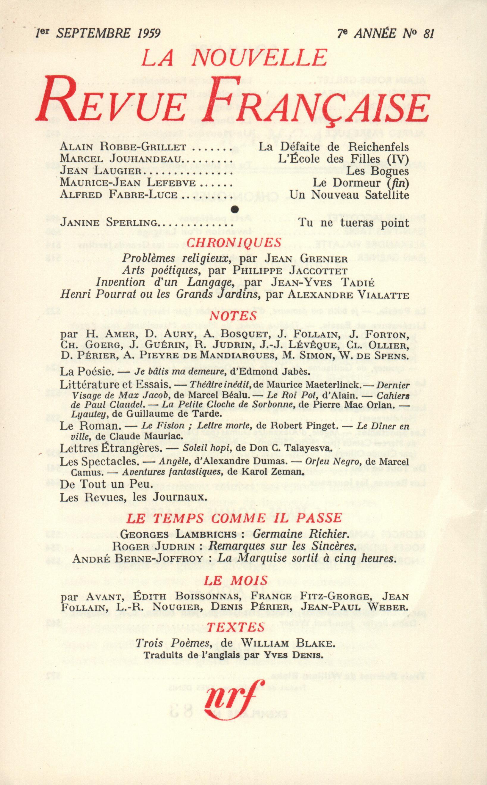 La Nouvelle Revue Française N' 81 (Septembre 1959)