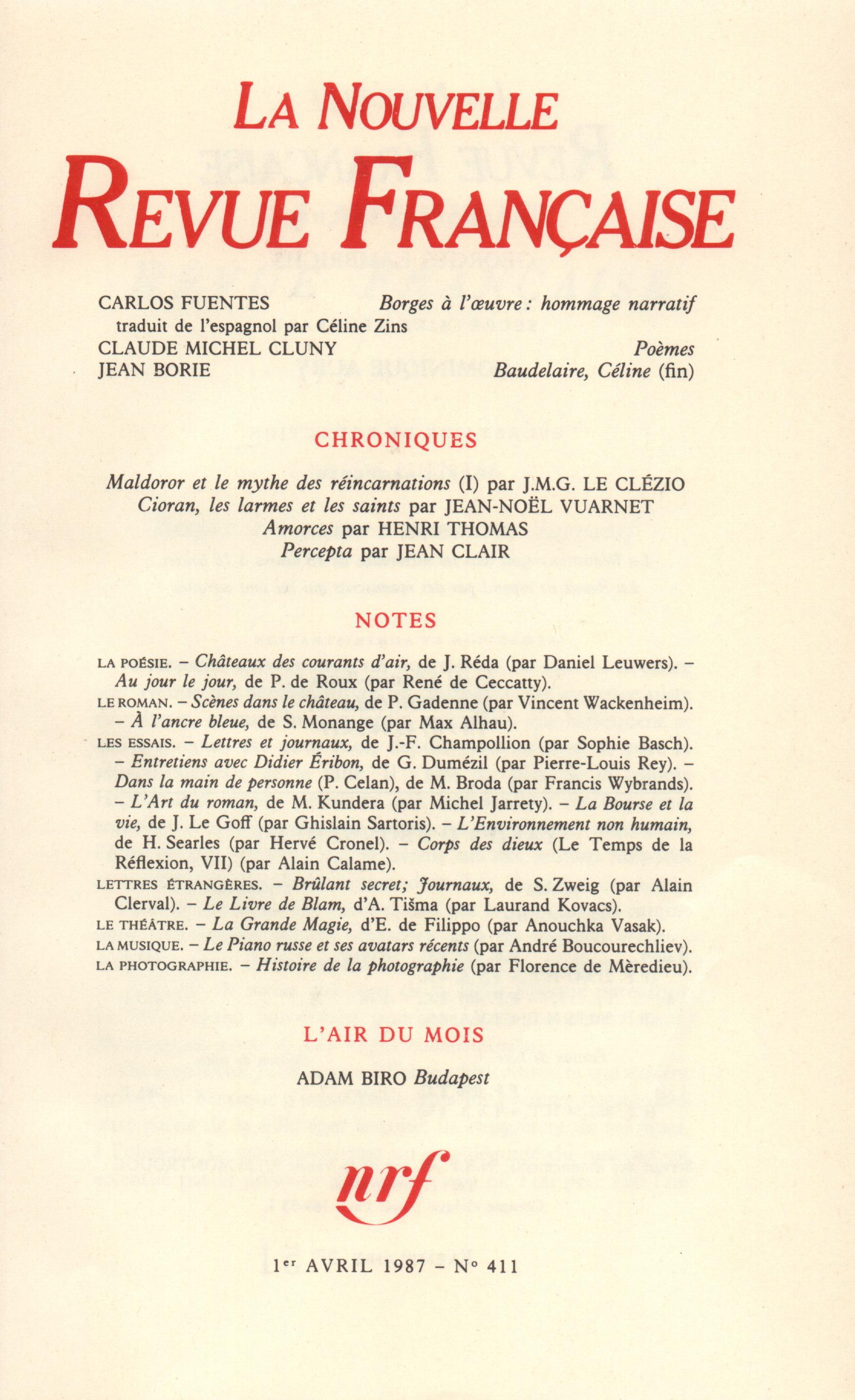 La Nouvelle Revue Française N° 411