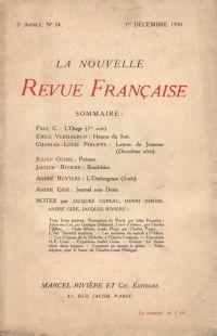 La Nouvelle Revue Française N' 24 (Décembre 1910)