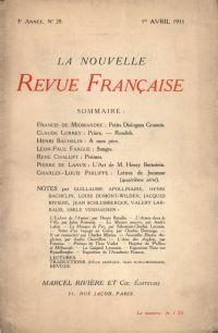La Nouvelle Revue Française N' 28 (Avril 1911)
