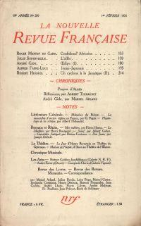 La Nouvelle Revue Française N' 209 (Février 1931)