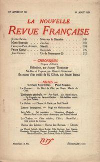 La Nouvelle Revue Française N' 191 (Aoűt 1929)