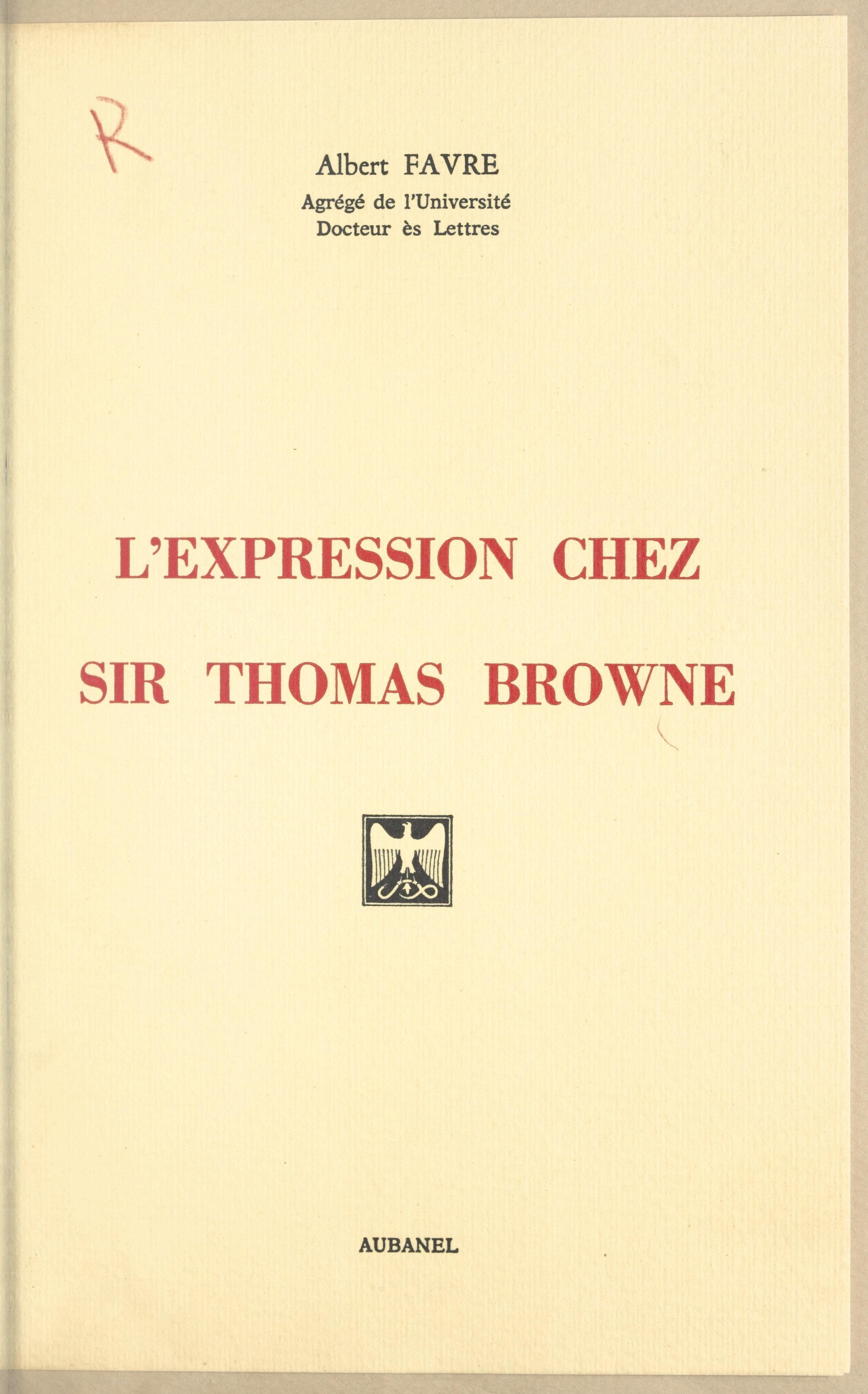L'expression chez Sir Thoma...