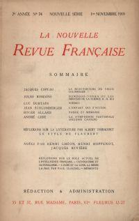 La Nouvelle Revue Française N' 74 (Novembre 1919)