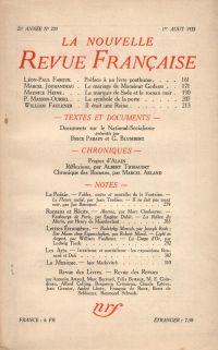 La Nouvelle Revue Française N° 239 (Aoűt 1933)