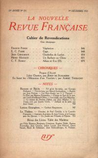 La Nouvelle Revue Française N° 231 (Décembre 1932)