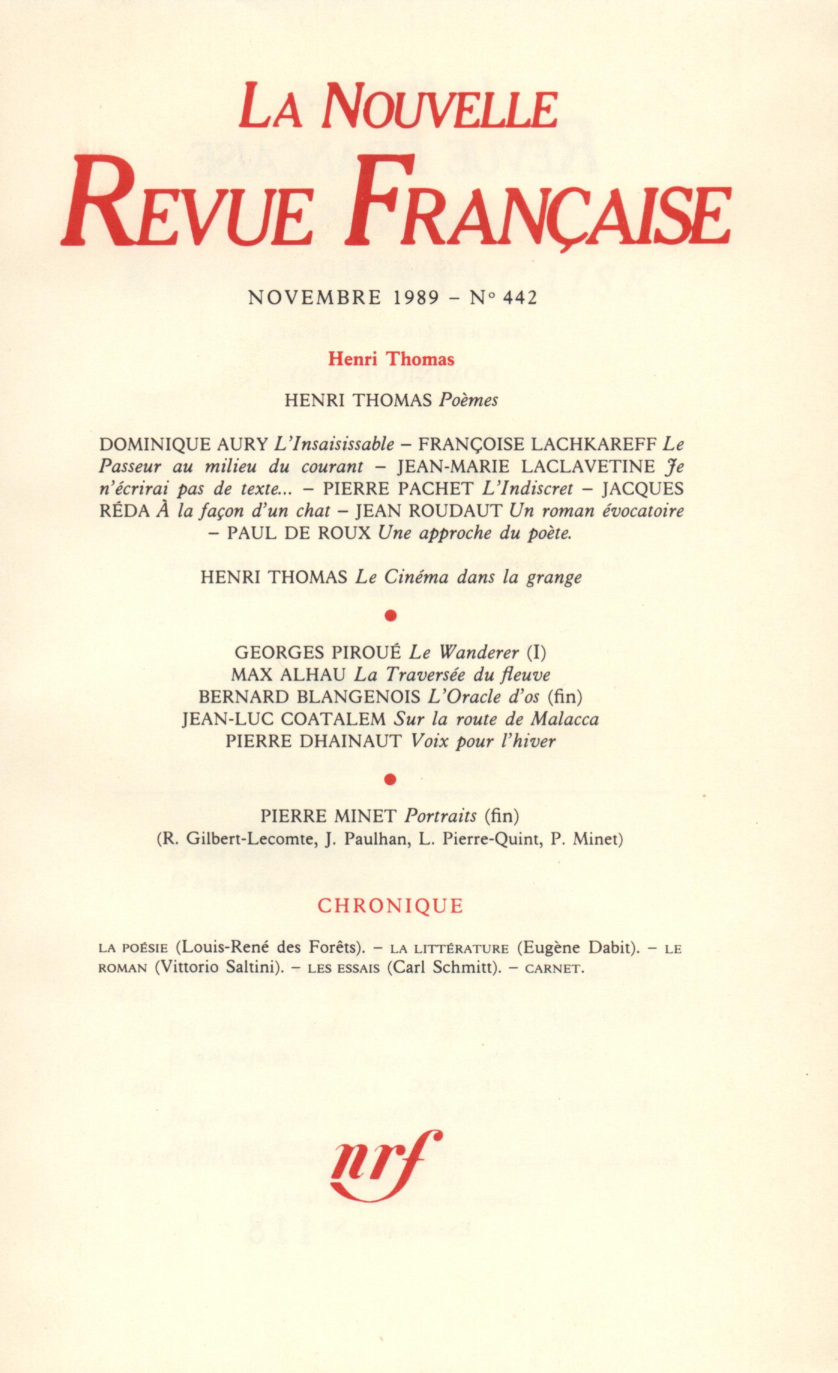 La Nouvelle Revue Française N° 442