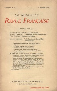La Nouvelle Revue Française N' 51 (Mars 1913)