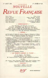La Nouvelle Nouvelle Revue Française N' 68 (Aoűt 1958)