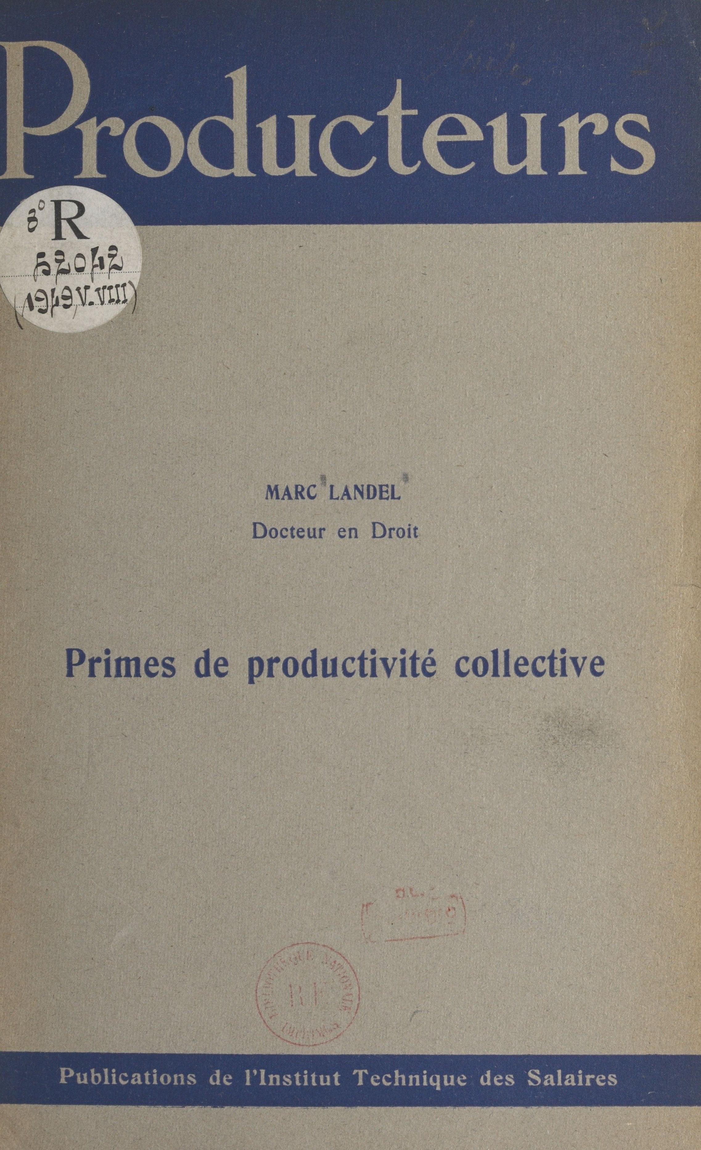 Primes de productivité coll...