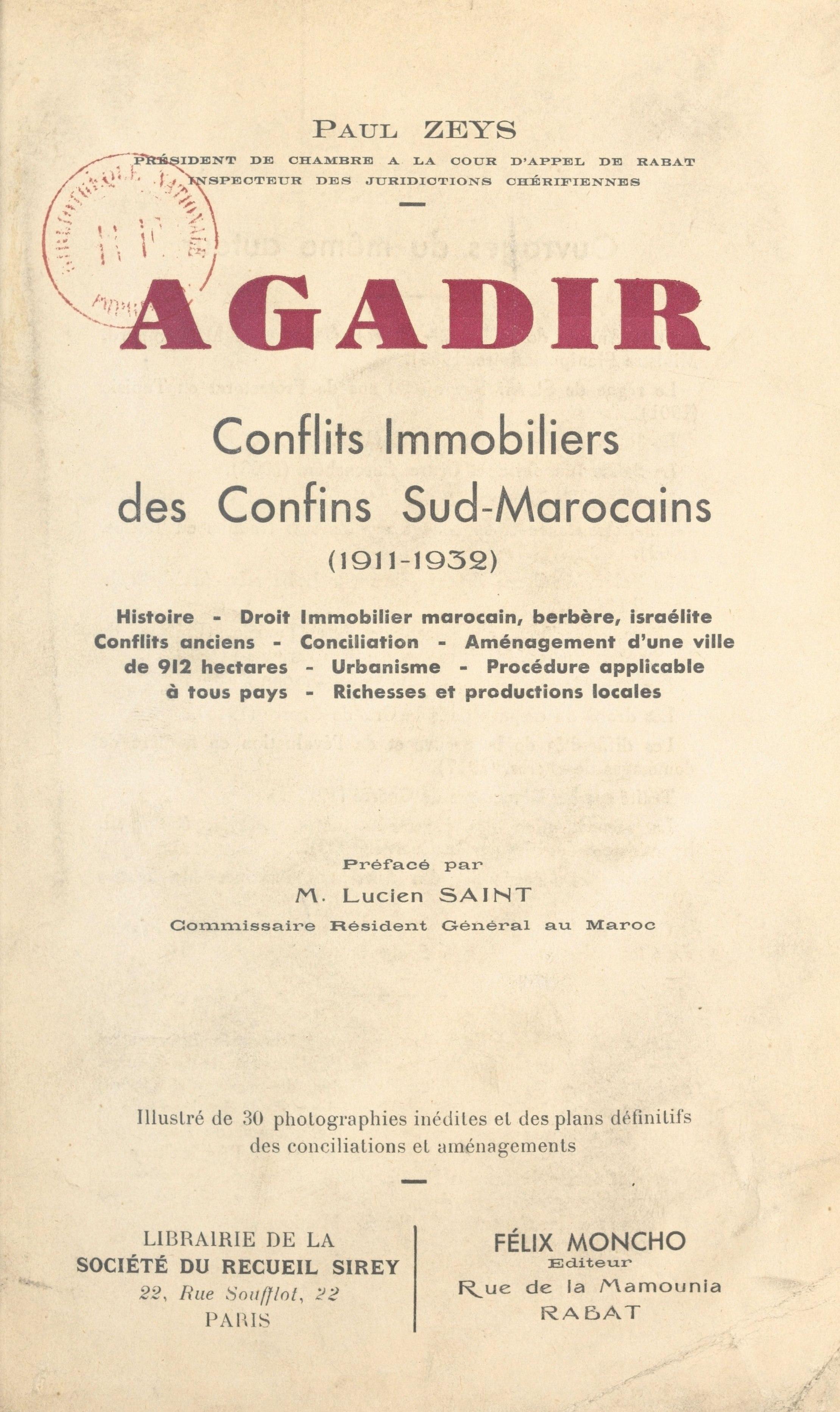 Agadir, CONFLITS IMMOBILIERS DES CONFINS SUD-MAROCAINS (1911-1932)