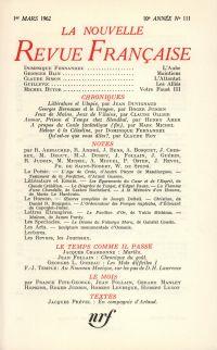 La Nouvelle Revue Française N' 111 (Mars 1962)