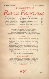 La Nouvelle Revue Française N' 304 (Janvier 1939)